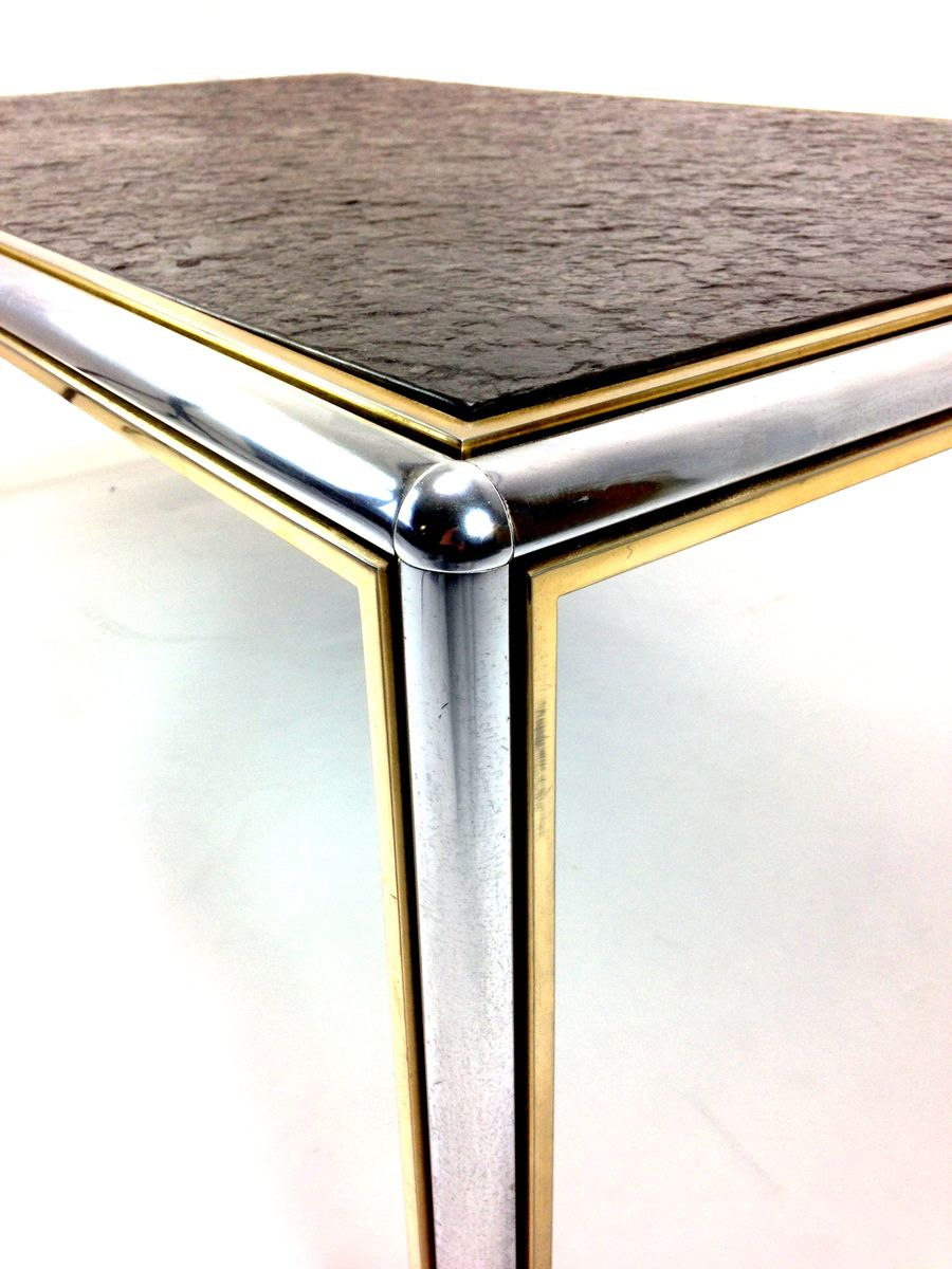 Mid Century Slate And Chrome Coffee Table For Sale At Pamono