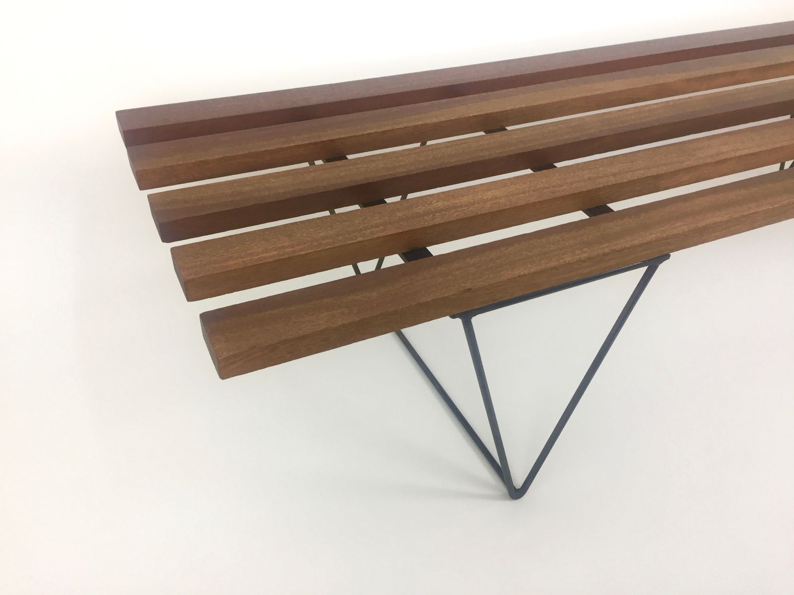 midcentury slatted bench for sale at pamono - midcentury slatted bench  on hold