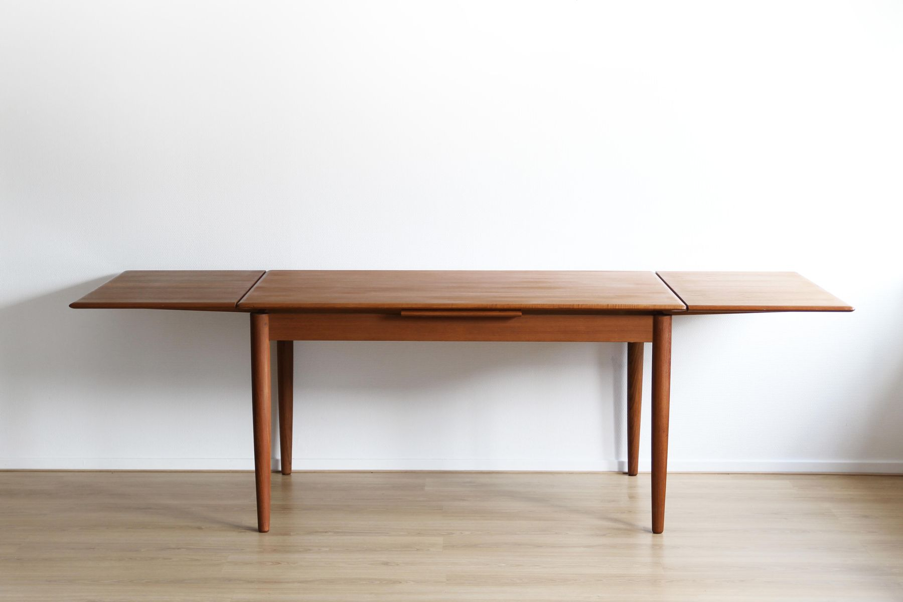 Mid Century Danish Dining Table With Extension Leaves 1960s