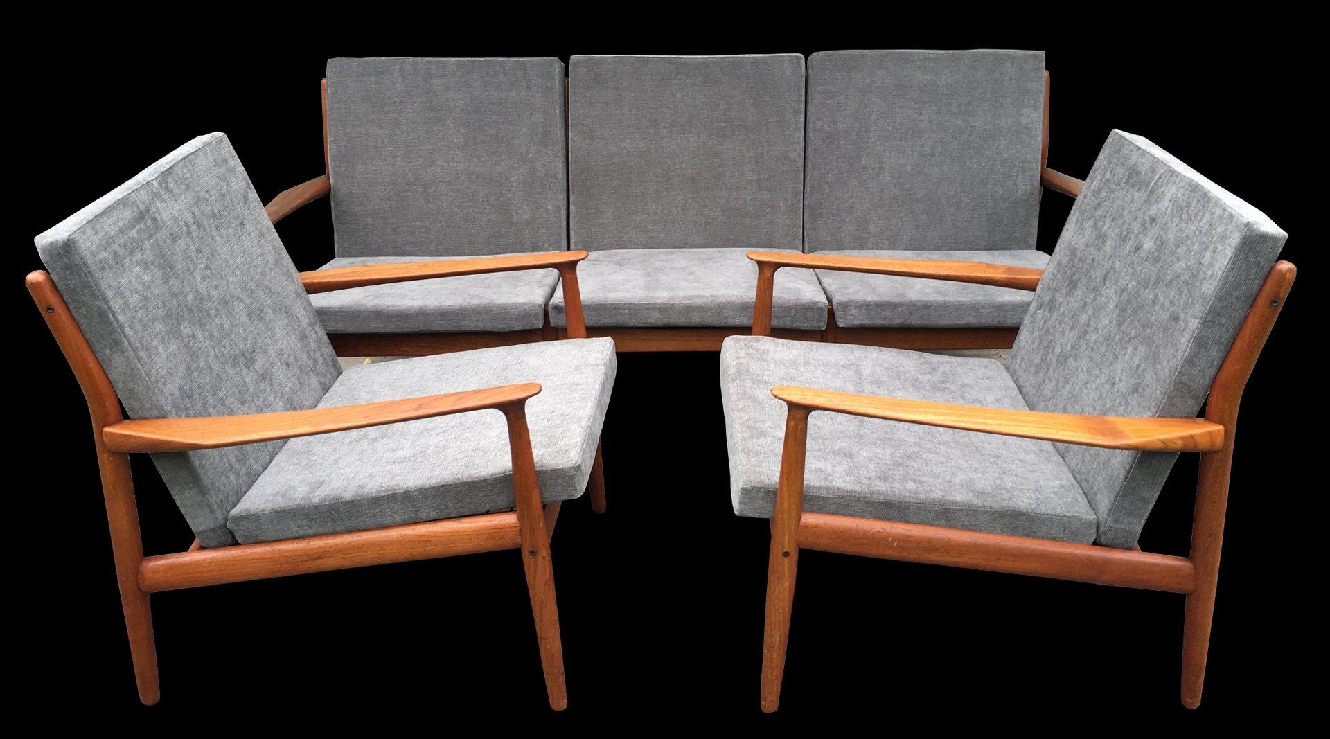 canap fauteuils en teck par greta jalk 1960s en vente. Black Bedroom Furniture Sets. Home Design Ideas