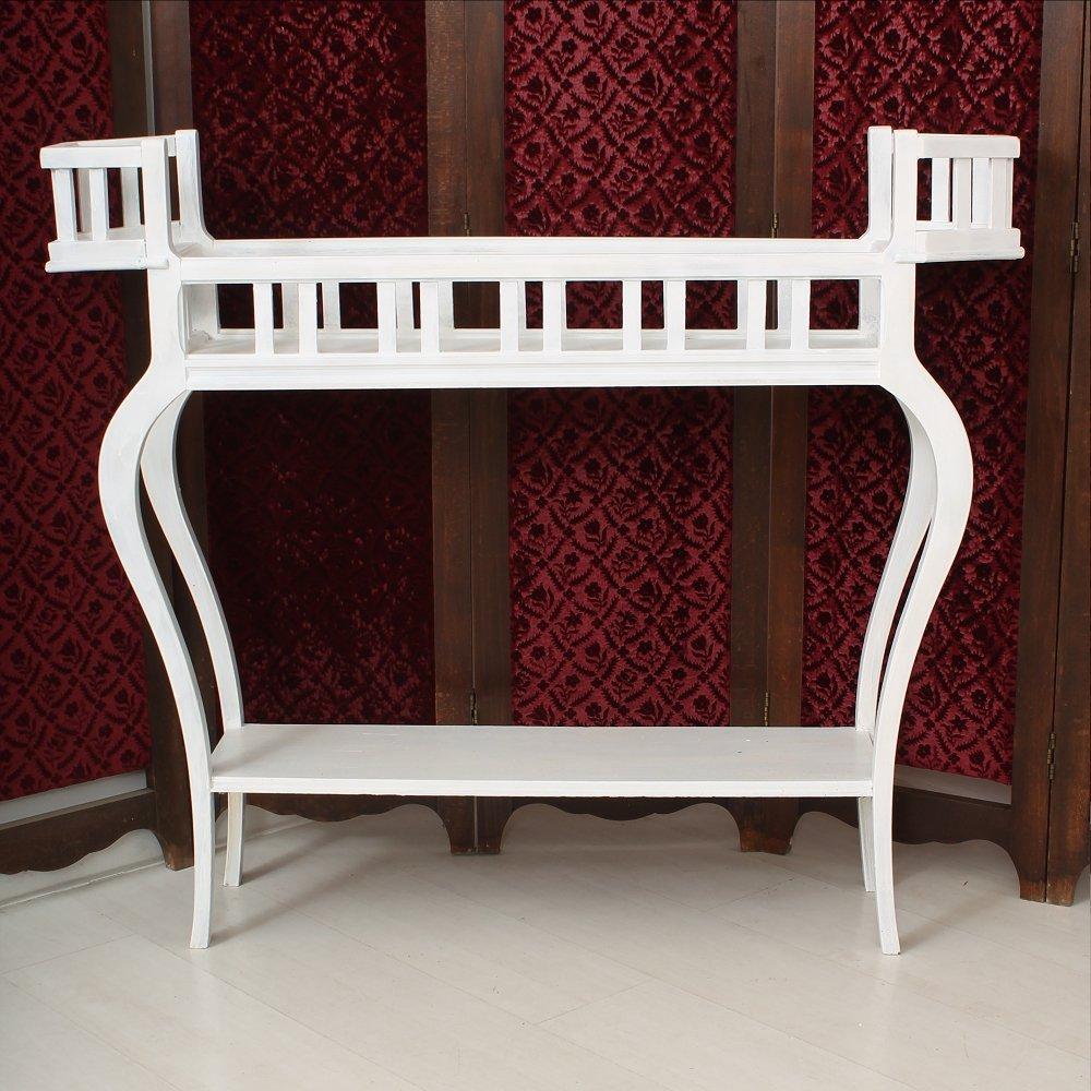 wei e blumenbank aus holz bei pamono kaufen. Black Bedroom Furniture Sets. Home Design Ideas