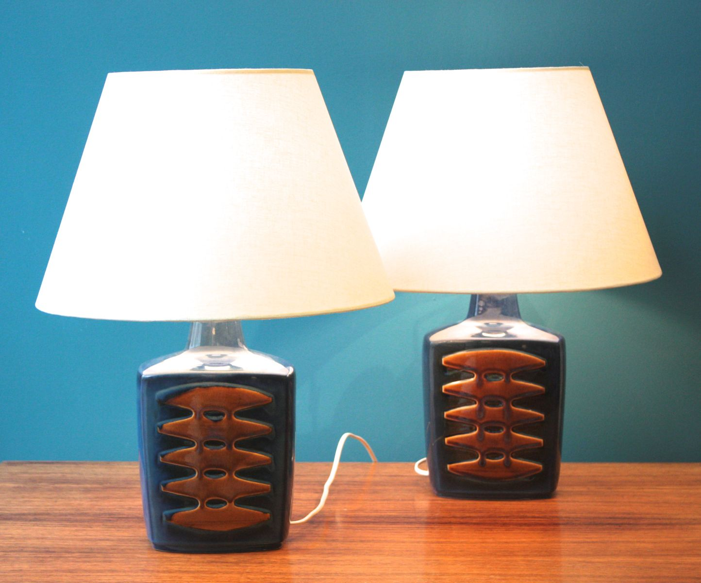 Large blue danish table lamps by einar johansen for soholm set of large blue danish table lamps by einar johansen for soholm set of 2 geotapseo Images