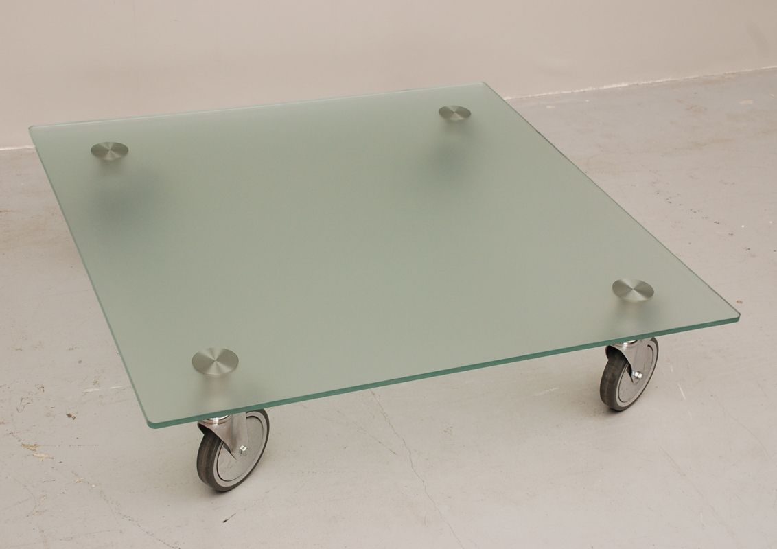 Glass Coffee Table On Wheels For Sale At Pamono