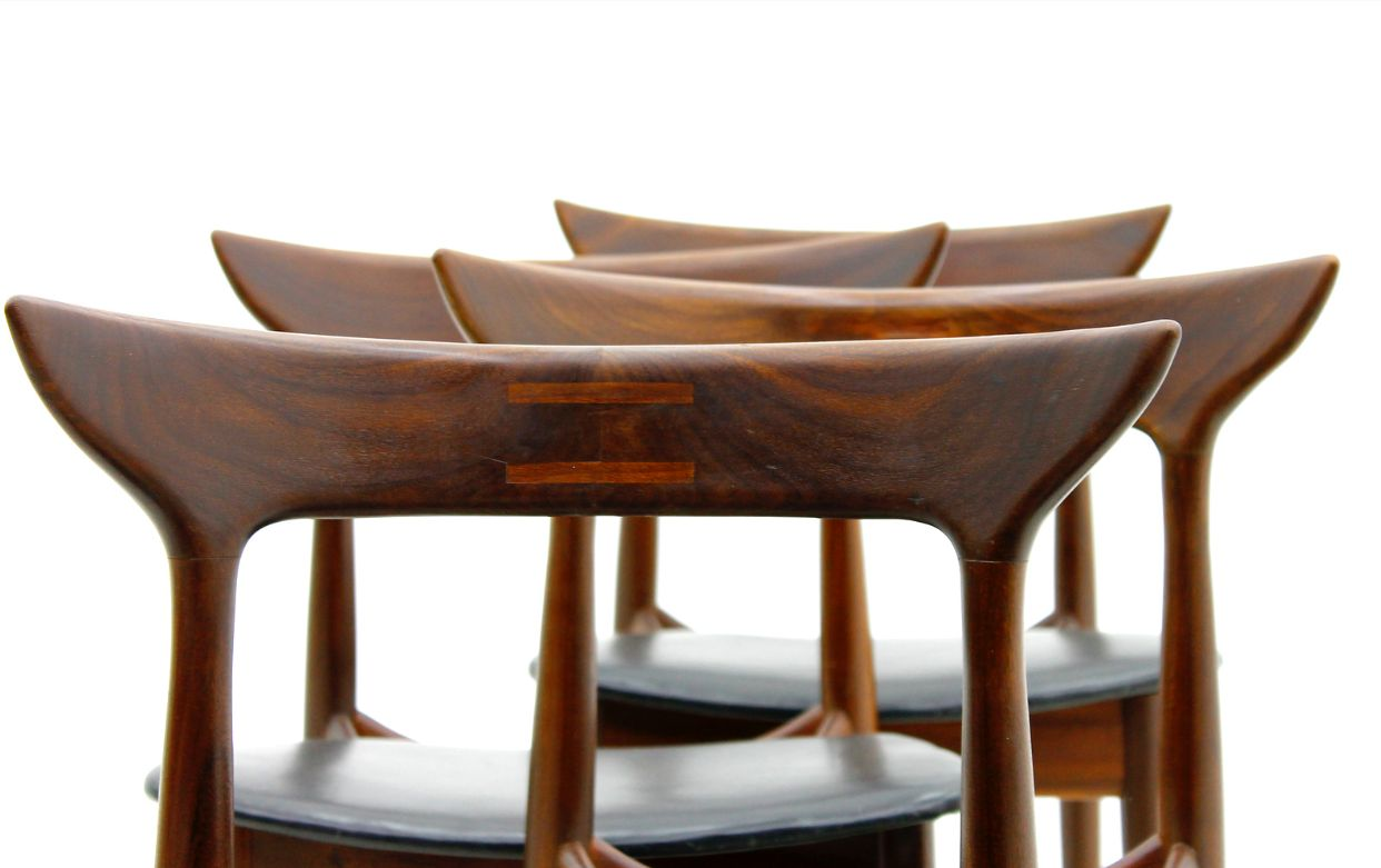 vintage rosewood and leather dining room chairs 1960s