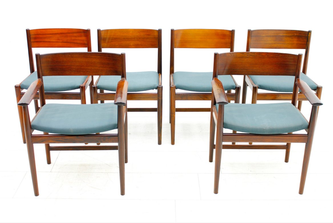 Rosewood Dining Chairs By Arne Vodder For Sibast Furniture