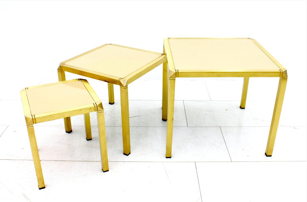 Vintage French Brass amp Glass Nesting Tables By Marzio