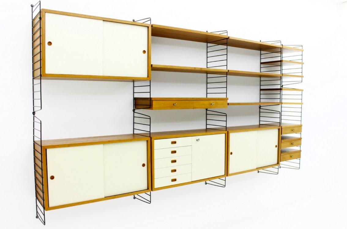 string schrankwand von nisse strinning 1960er bei pamono kaufen. Black Bedroom Furniture Sets. Home Design Ideas