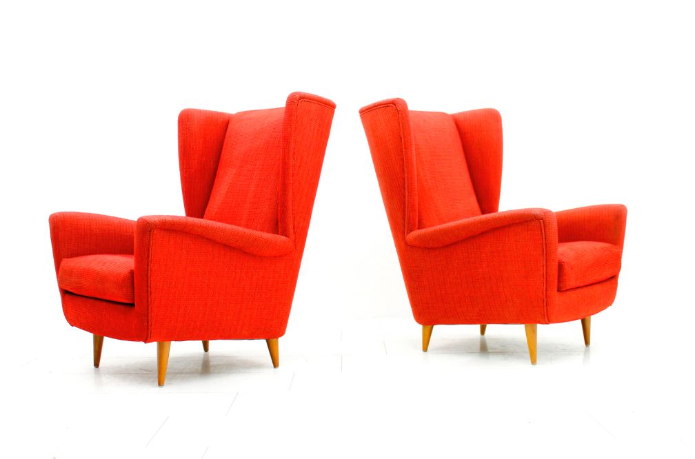 Rote vintage ohrensessel 2er set bei pamono kaufen for Ohrensessel 2er