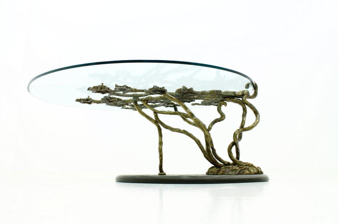 Bronze Couchtisch mit Schiefer Base & Glasplatte, 1960er