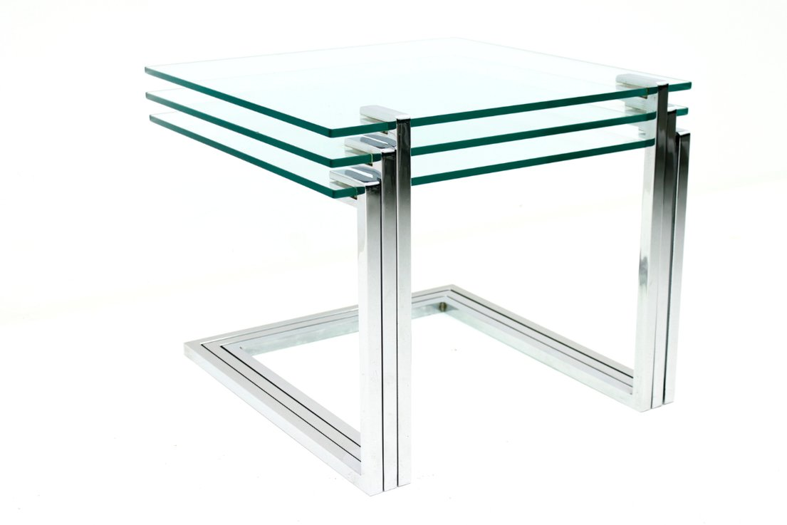 Set Of 3 Glass Tables: Mid-Century Glass And Chrome Nesting Tables By Milo