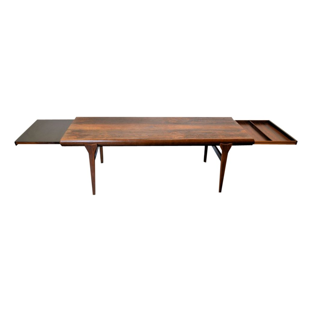 Extendable Rosewood Coffee Table By Johannes Andersen For Silkeborg M Belfabrik 1960s For Sale