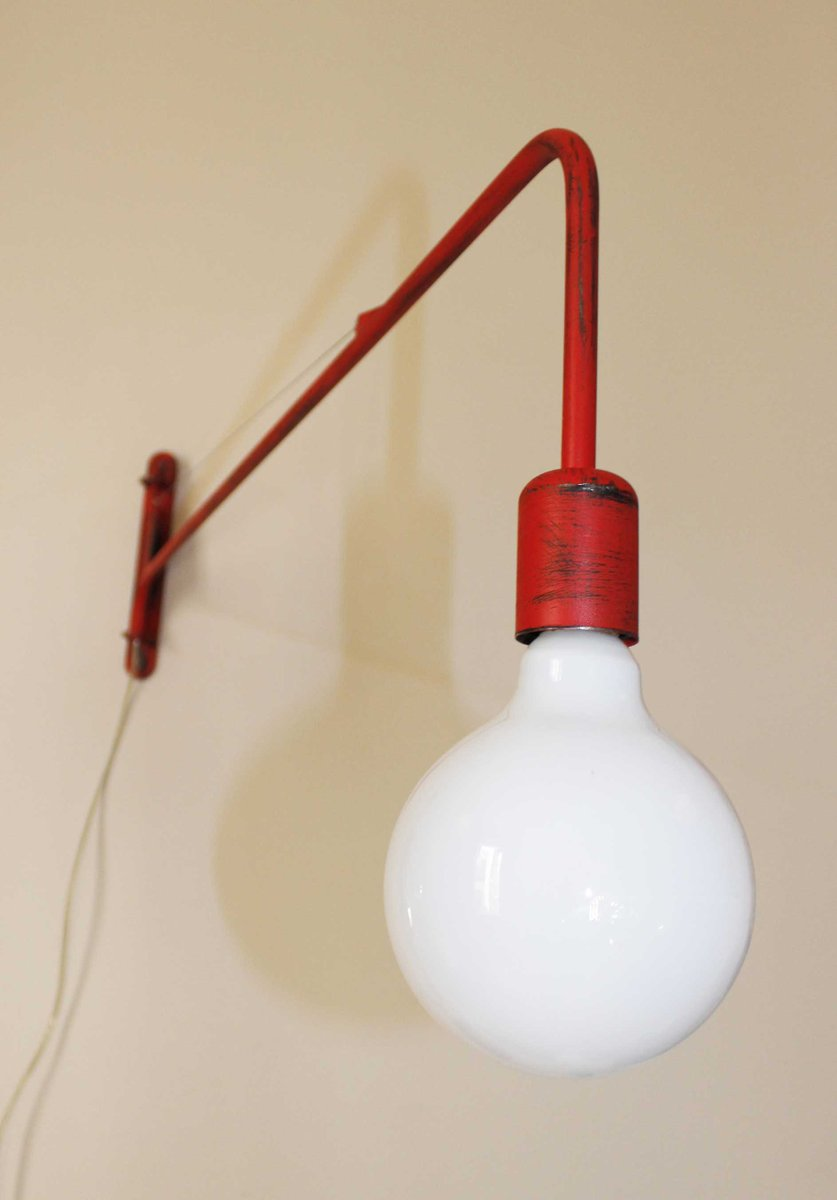 Industrial Red Wall Lamp for sale at Pamono