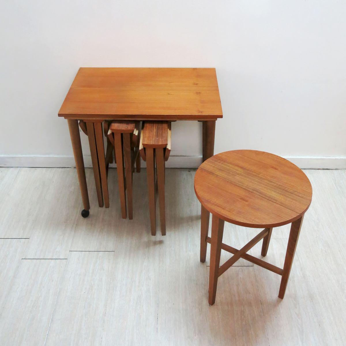 Vintage nesting tables by poul hundevad set of for sale