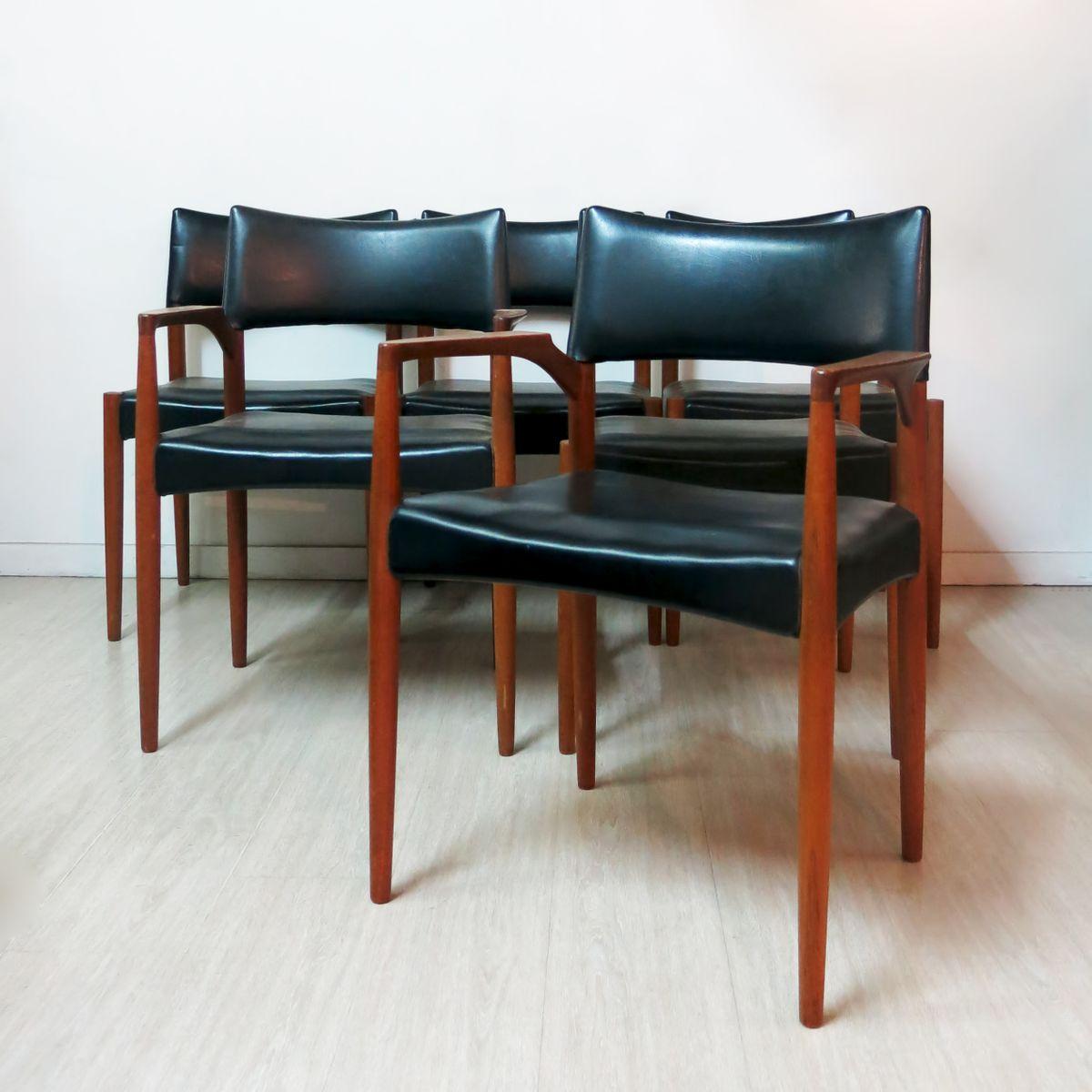 esszimmerst hle von aksel bender madsen 1960er 6er set. Black Bedroom Furniture Sets. Home Design Ideas