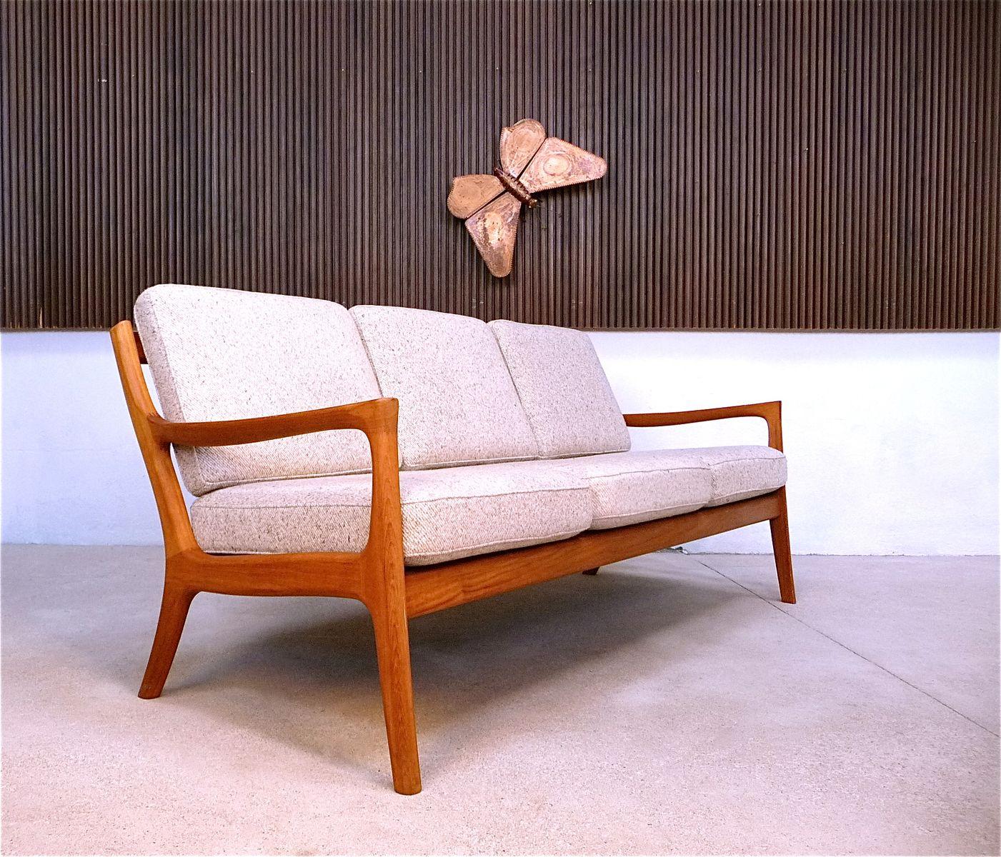 d nisches teak 3 sitzer sofa 1960er bei pamono kaufen. Black Bedroom Furniture Sets. Home Design Ideas