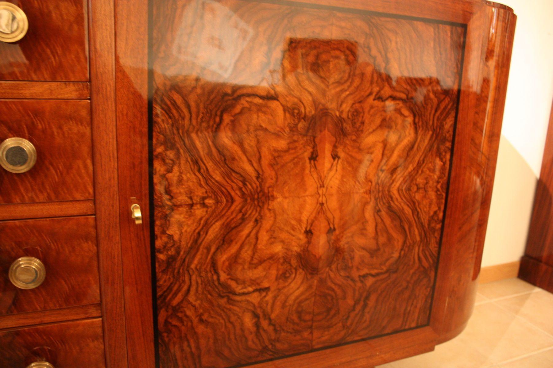 enfilade art d co en broussin de noyer 1930 en vente sur pamono. Black Bedroom Furniture Sets. Home Design Ideas