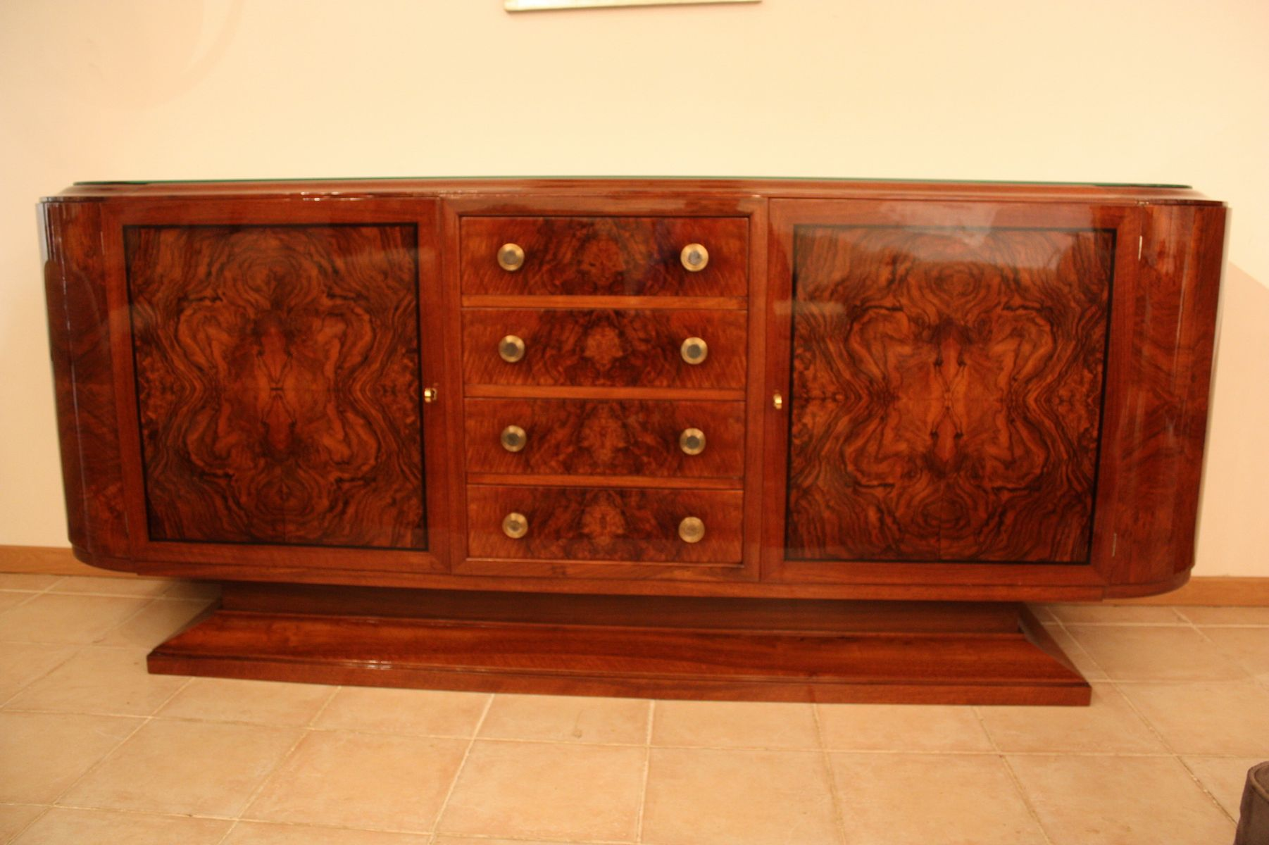art deco burr walnut sideboard 1930 for sale at pamono. Black Bedroom Furniture Sets. Home Design Ideas