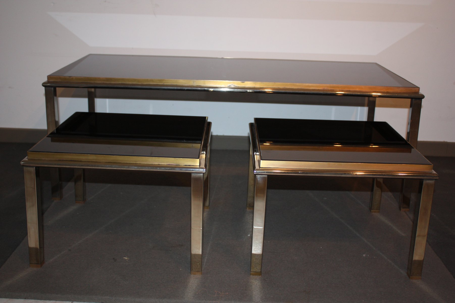 Vintage french glass coffee tables set of 3 for sale at pamono Glass coffee table set