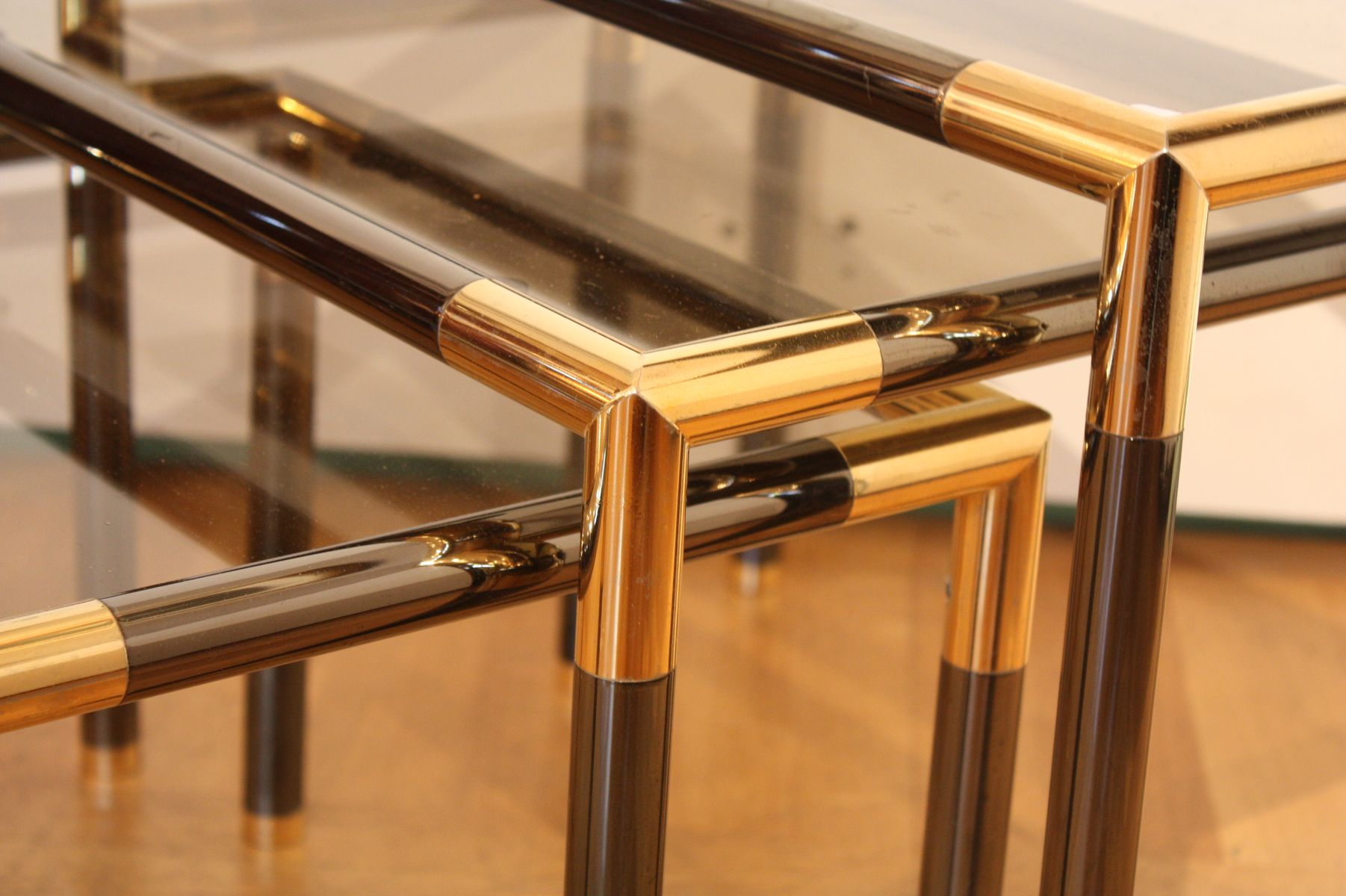 Metal and glass nesting tables set of for sale at pamono