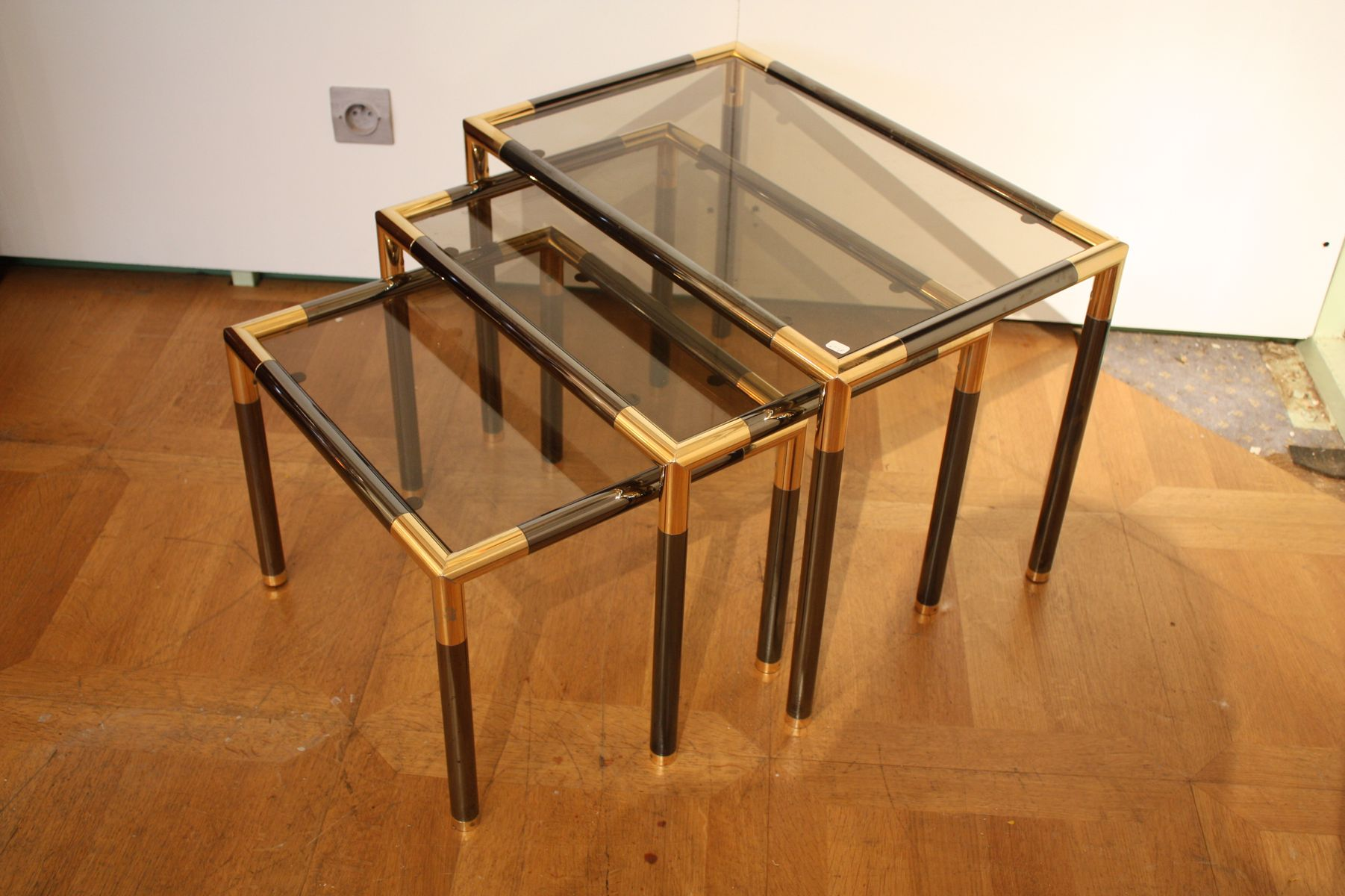 Metal and glass nesting tables set of
