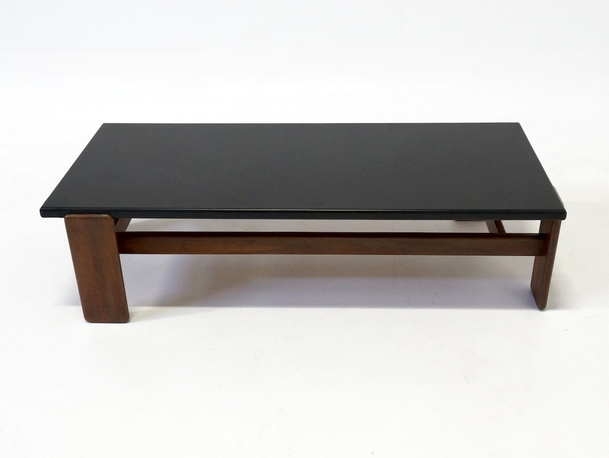 Rosewood Coffee Table With Leather Top For Sale At Pamono