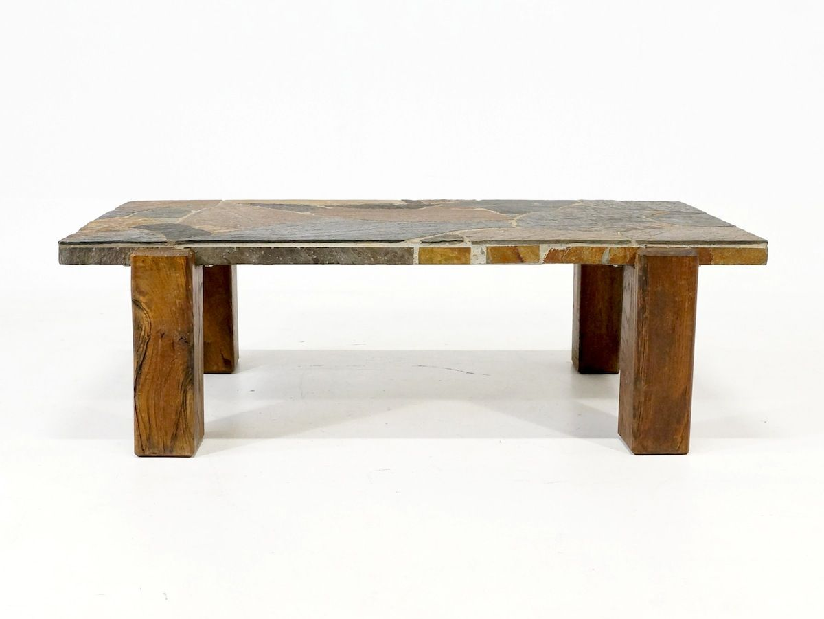 Vintage flagstone coffee table 1970s for sale at pamono vintage flagstone coffee table 1970s geotapseo Images