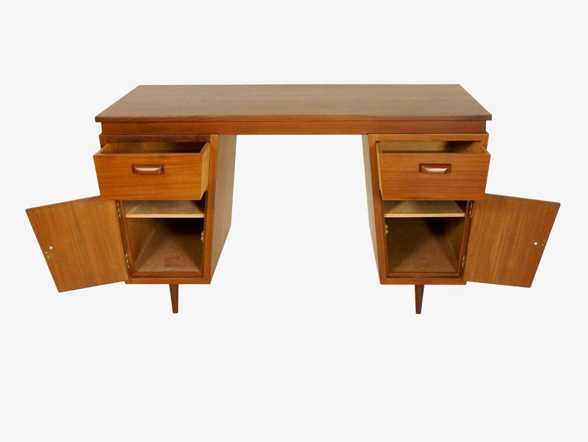 bureau en teck avec pieds en fuseaux en vente sur pamono. Black Bedroom Furniture Sets. Home Design Ideas