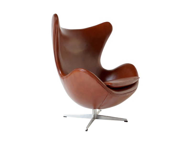 leather egg chair by arne jacobsen for fritz hansen 1967 for sale at pamono. Black Bedroom Furniture Sets. Home Design Ideas