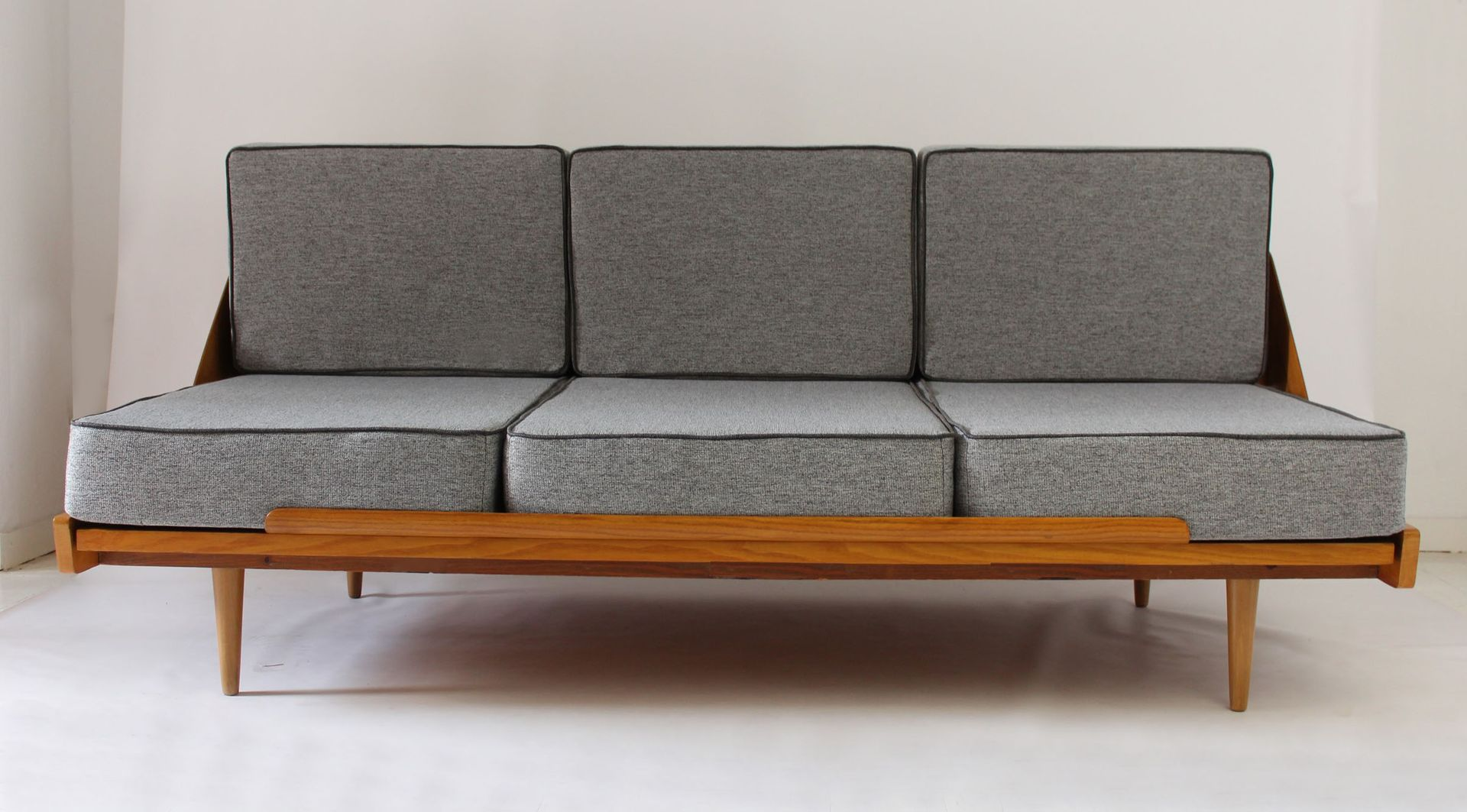 Mid Century Sofa Bed With Pouf 1960s For Sale At Pamono