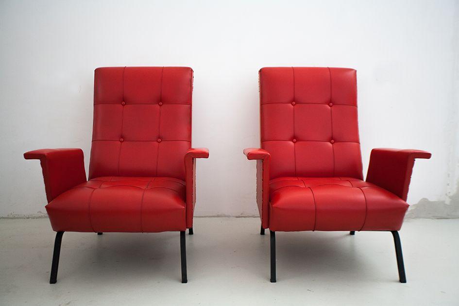 rote vintage italienisch ledersessel 1950er 2er set bei. Black Bedroom Furniture Sets. Home Design Ideas