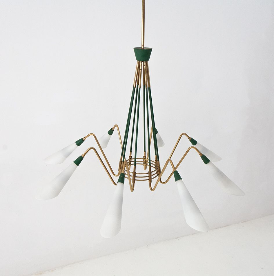 Mid century italian ceiling lamp 1950s for sale at pamono for Mid century ceiling lamp