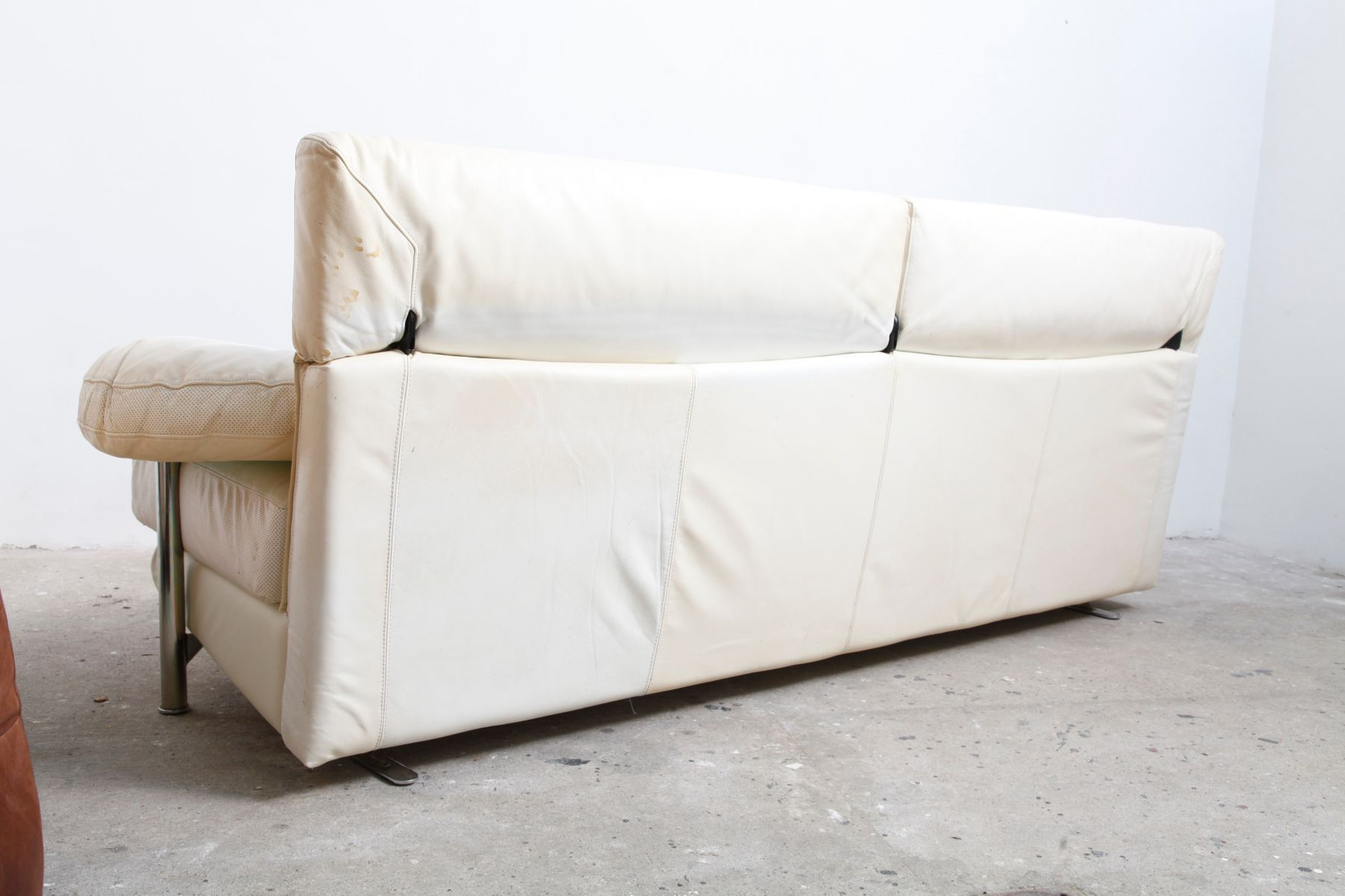 White Leather Arca Sofa By Paolo Piva For B B Italia 1984