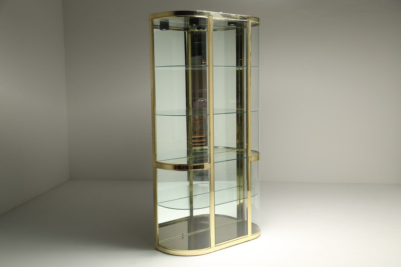 brass and glass vitrine by design institute of america for. Black Bedroom Furniture Sets. Home Design Ideas