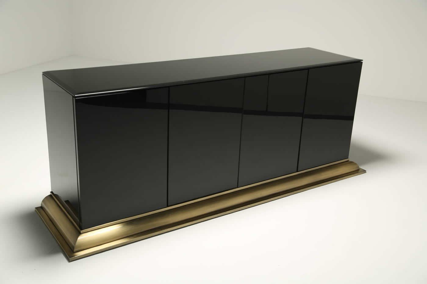 Black Glass And Brass Sideboard By Ello Furniture For Sale
