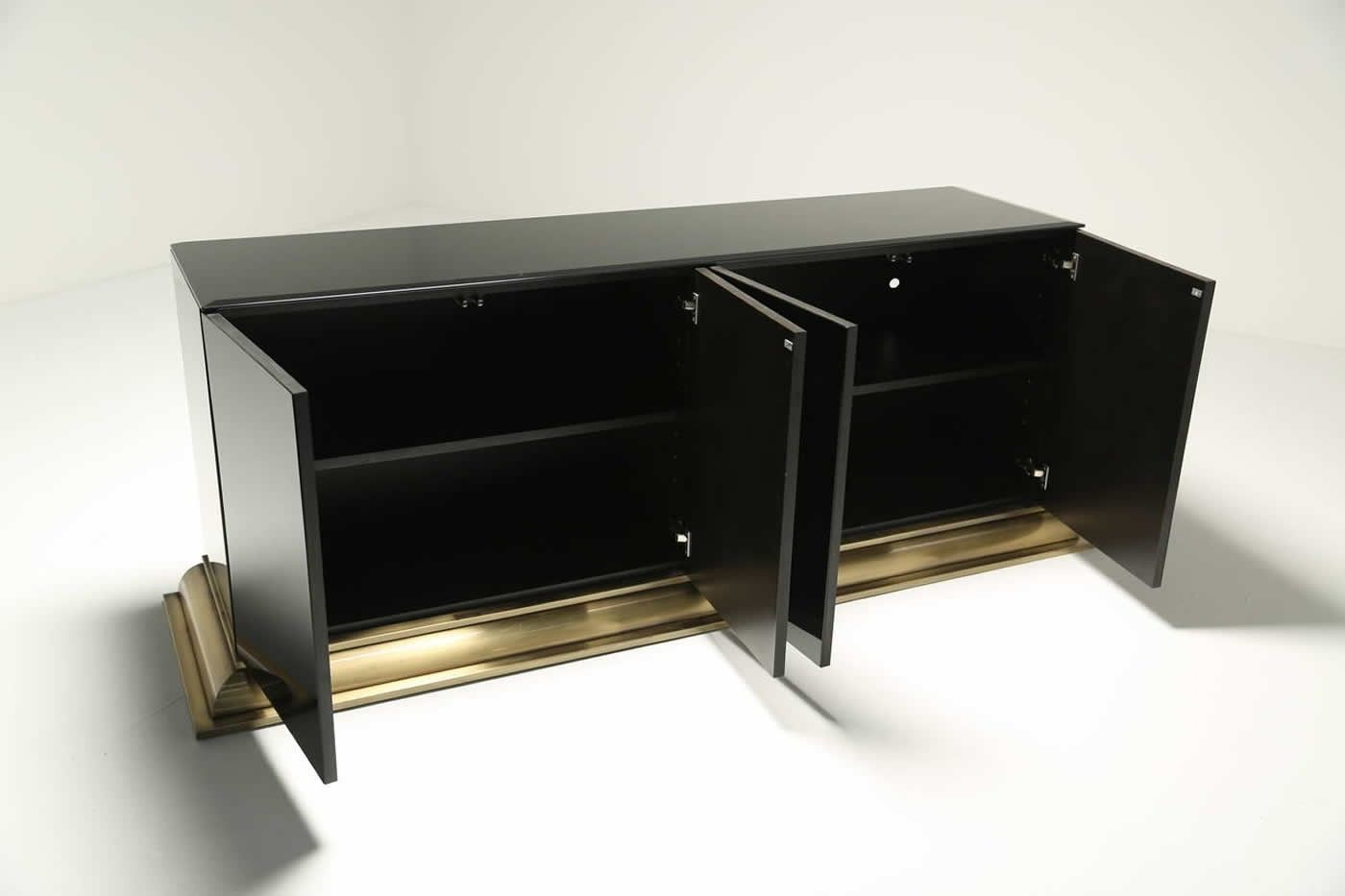 Black glass and brass sideboard by ello furniture for sale for Sideboard 2 m lang