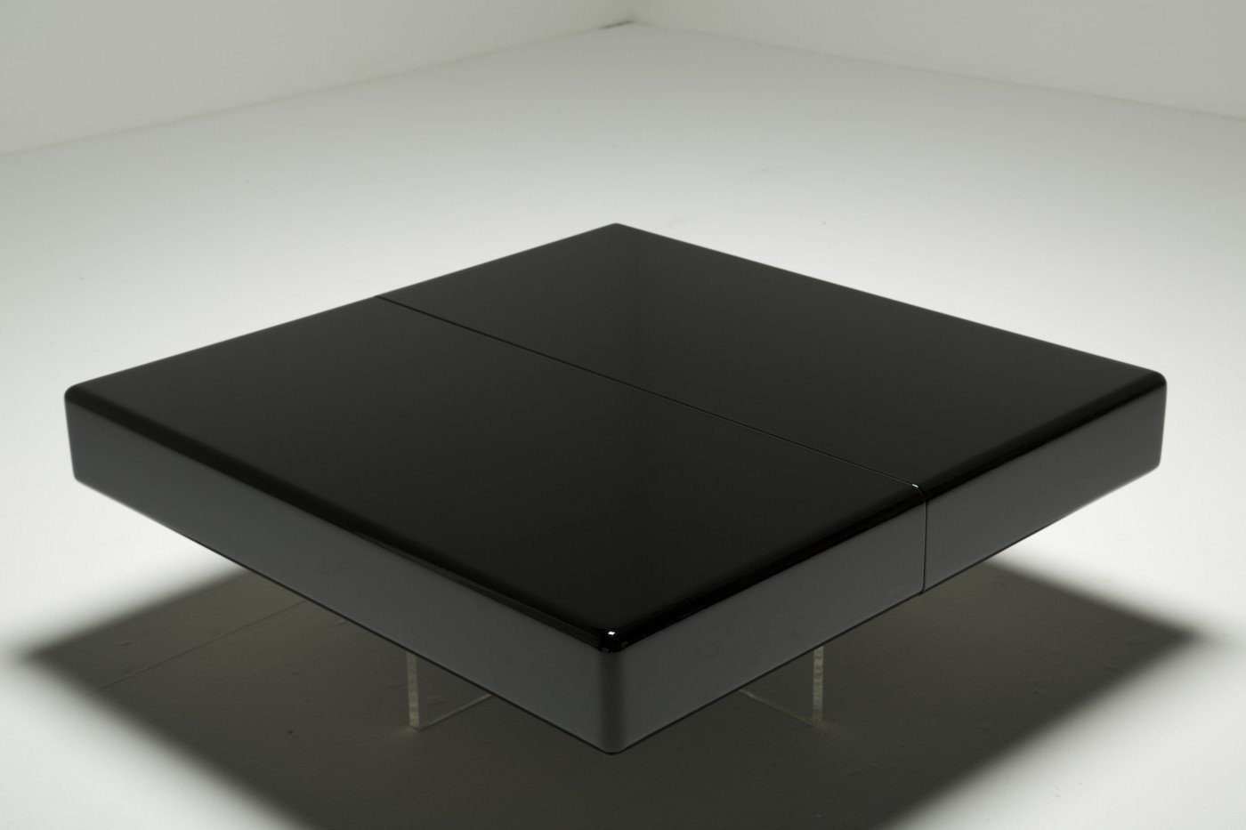 black lacquer coffee table with perspex base for sale at pamono