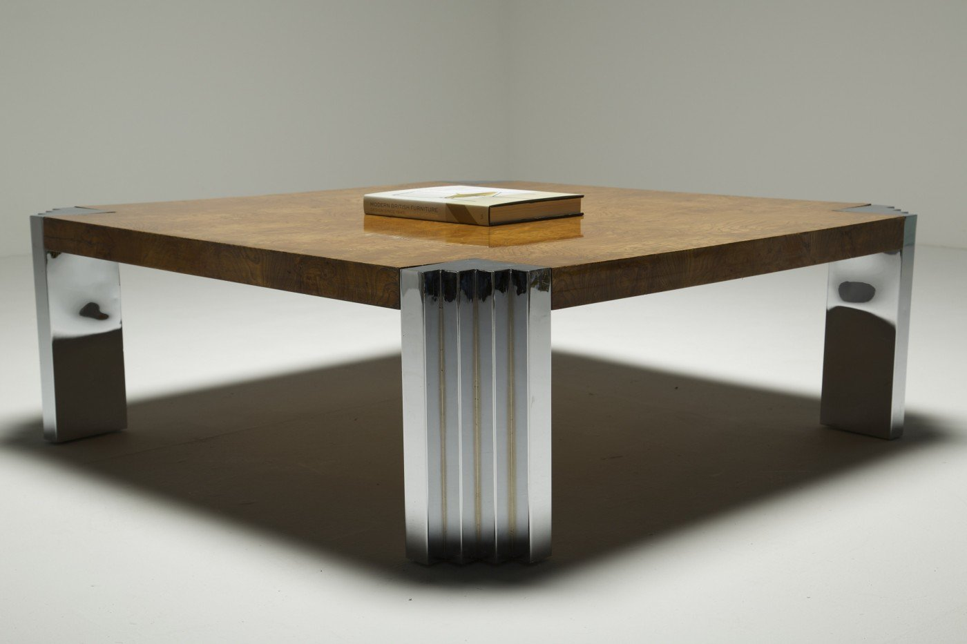 Burr walnut and chrome square coffee table for sale at pamono for 11 table