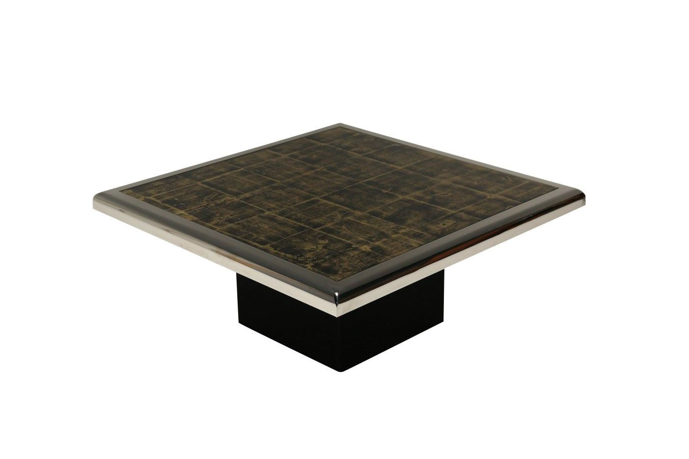 Black And Gold Floating Coffee Table In Chrome From Belgochrom For Sale At Pamono