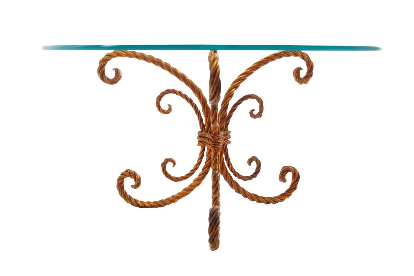Vergoldeter Metall Couchtisch mit Seilähnlichem Fuß bei