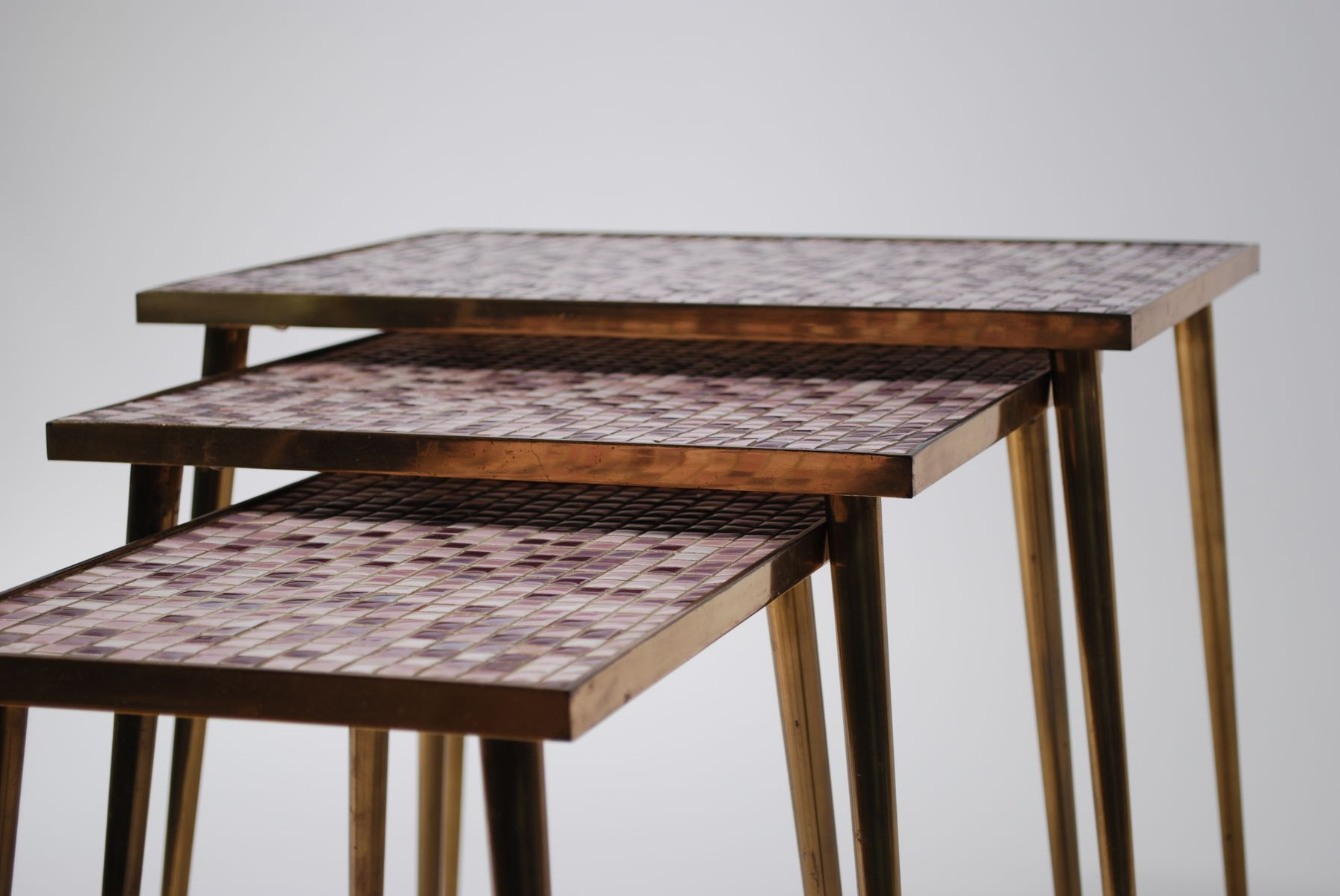 Amazing photo of Mid Century Mosaic Nesting Tables 1950 Set of 3 for sale at Pamono with #6A442A color and 1792x1200 pixels