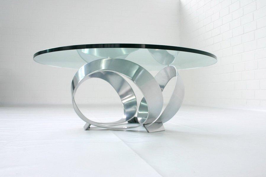 Deutscher Diamond Aluminium Couchtisch von Knut Hesterberg