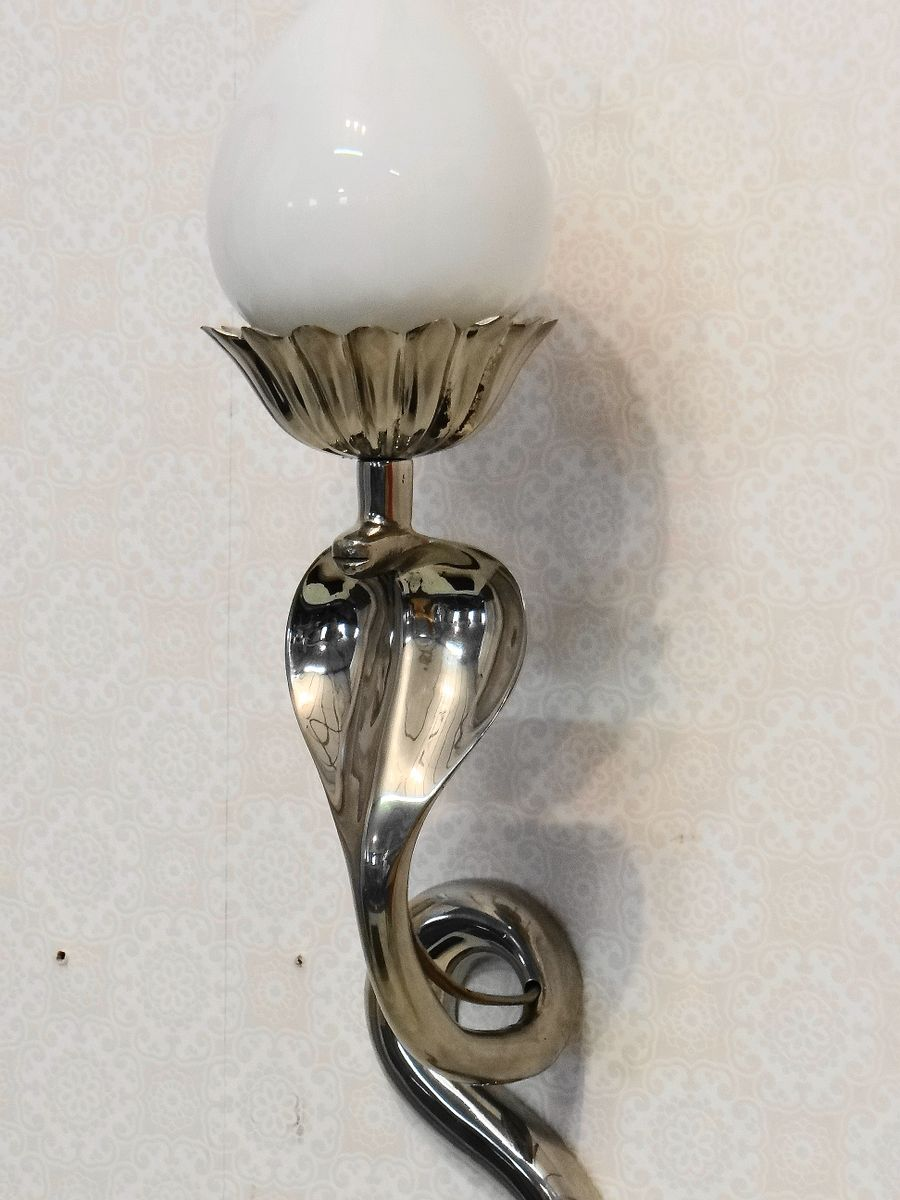 Vintage Glass Wall Sconces : Vintage Steel & Glass Snake Wall Sconce for sale at Pamono