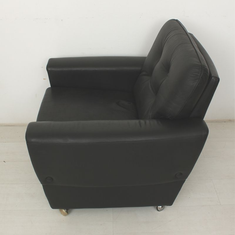 Vintage Black Leather Lounge Chairs Set of 2 for sale at Pamono