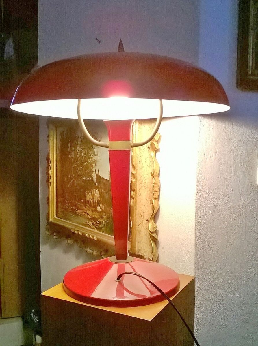 Large red italian table lamp 1950s for sale at pamono geotapseo Gallery