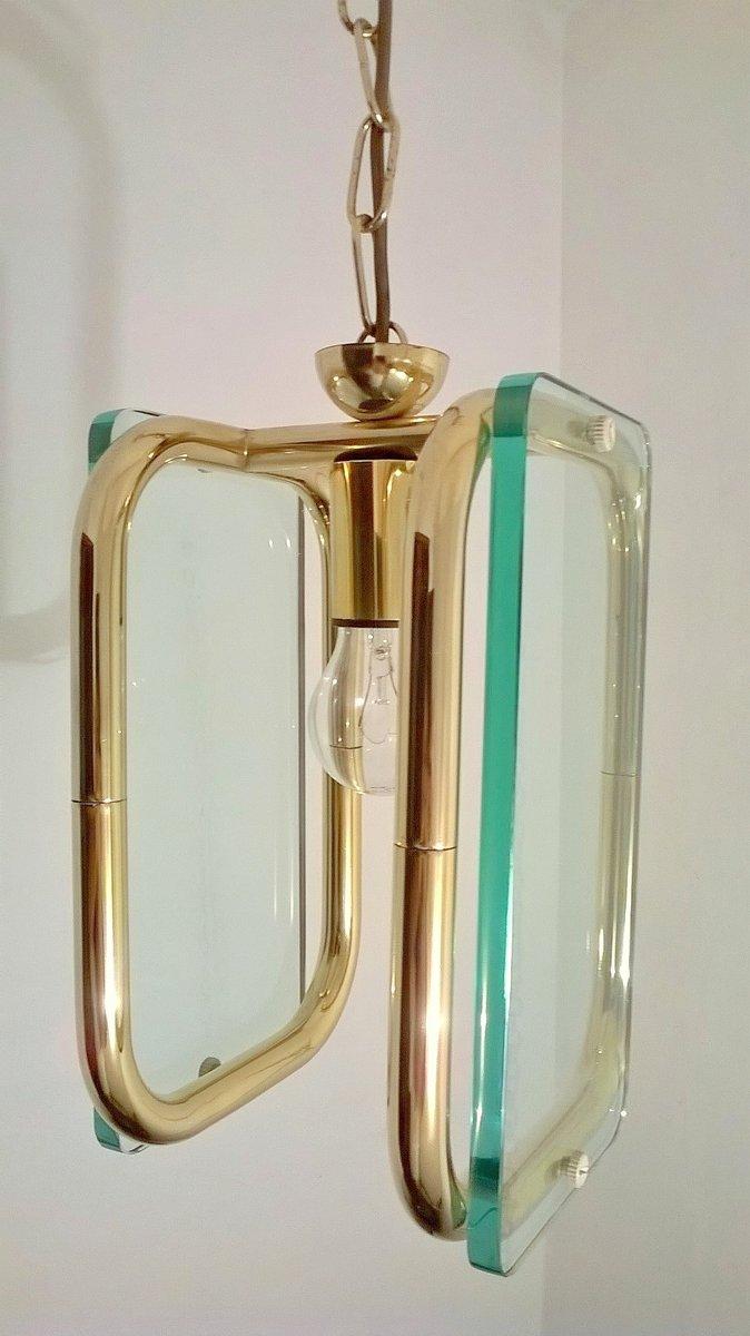 Messing und glas deckenlampe 1940er bei pamono kaufen for Deckenlampe messing