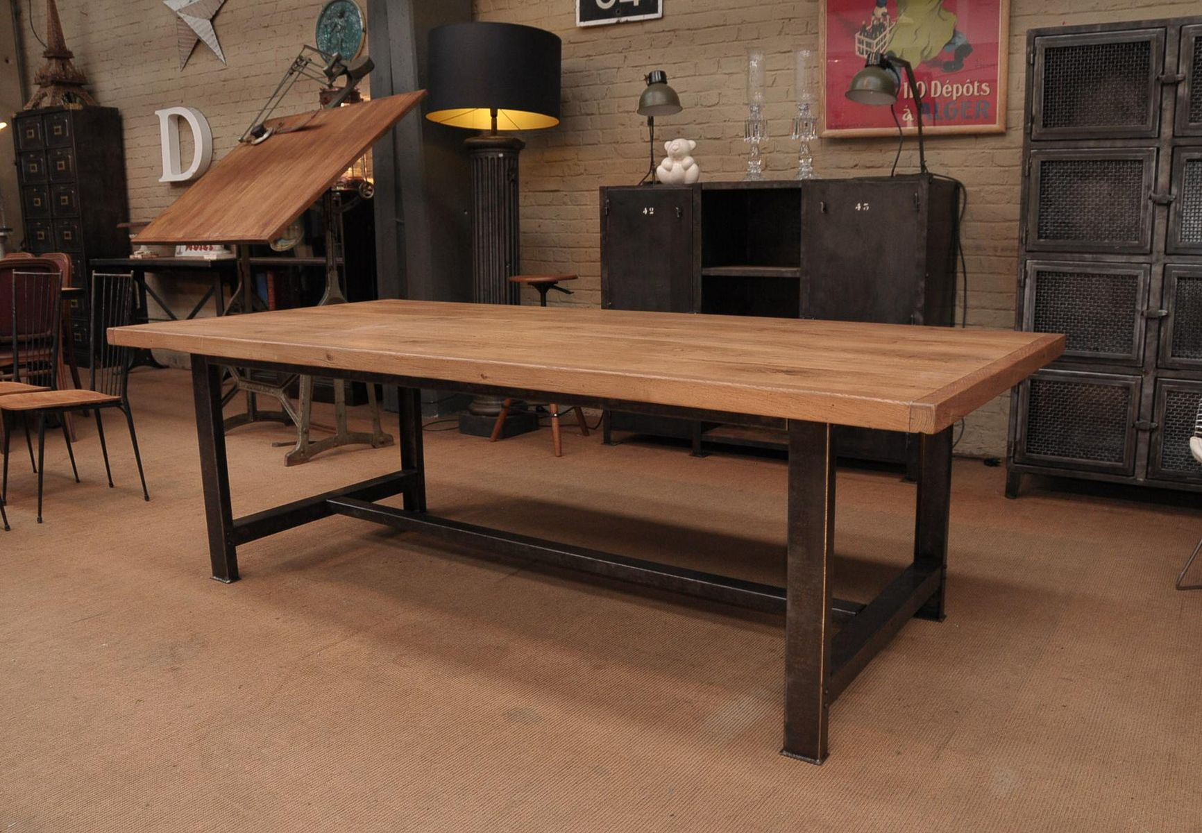 Oak Industrial Dining Table For Sale At Pamono