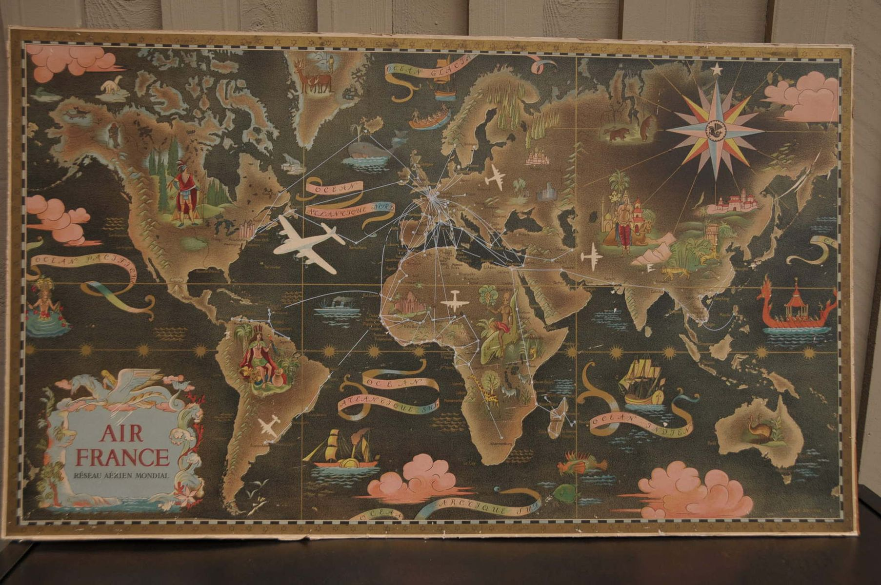 Vintage Old World Map By Air France Plane Company For Sale At Pamono