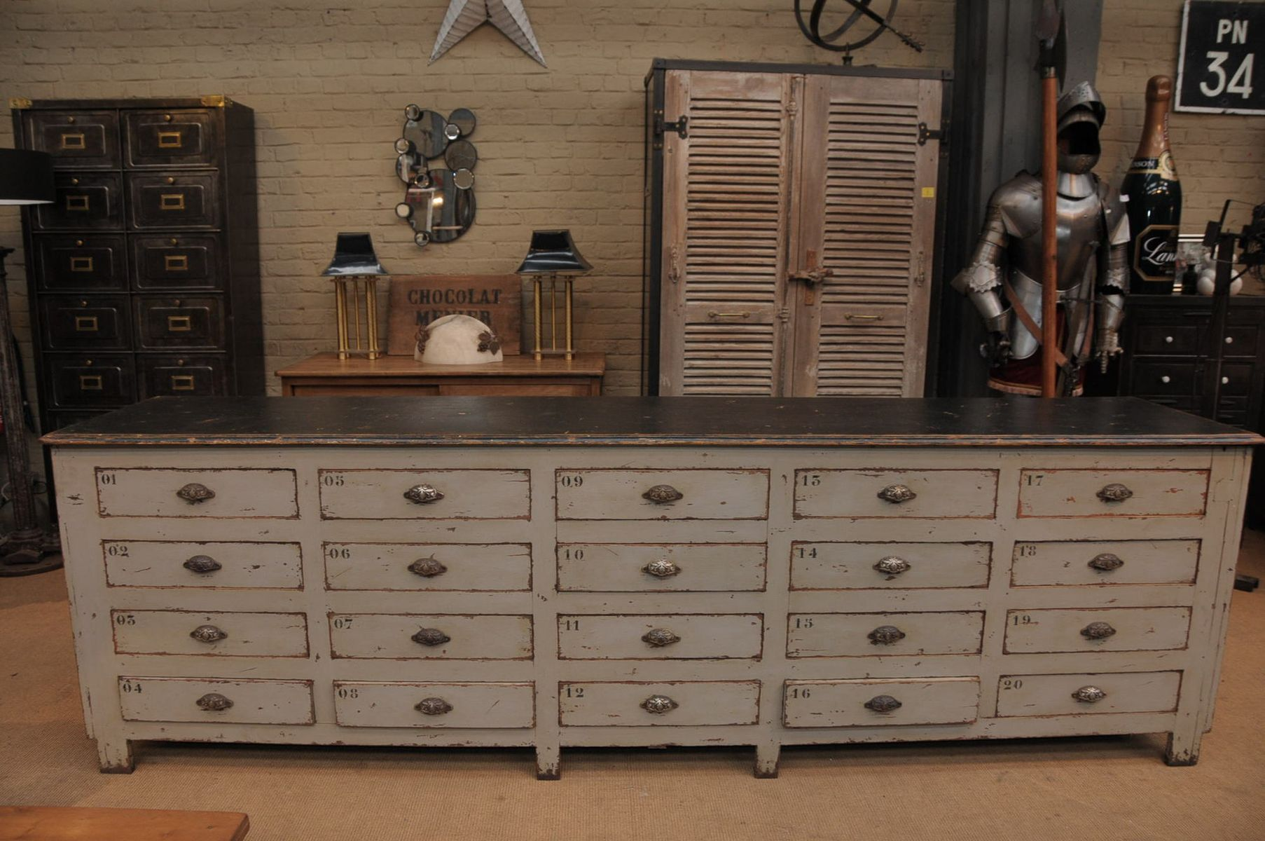 Industrial cabinet with 20 drawers and patina 1920s for for Kitchen drawers for sale