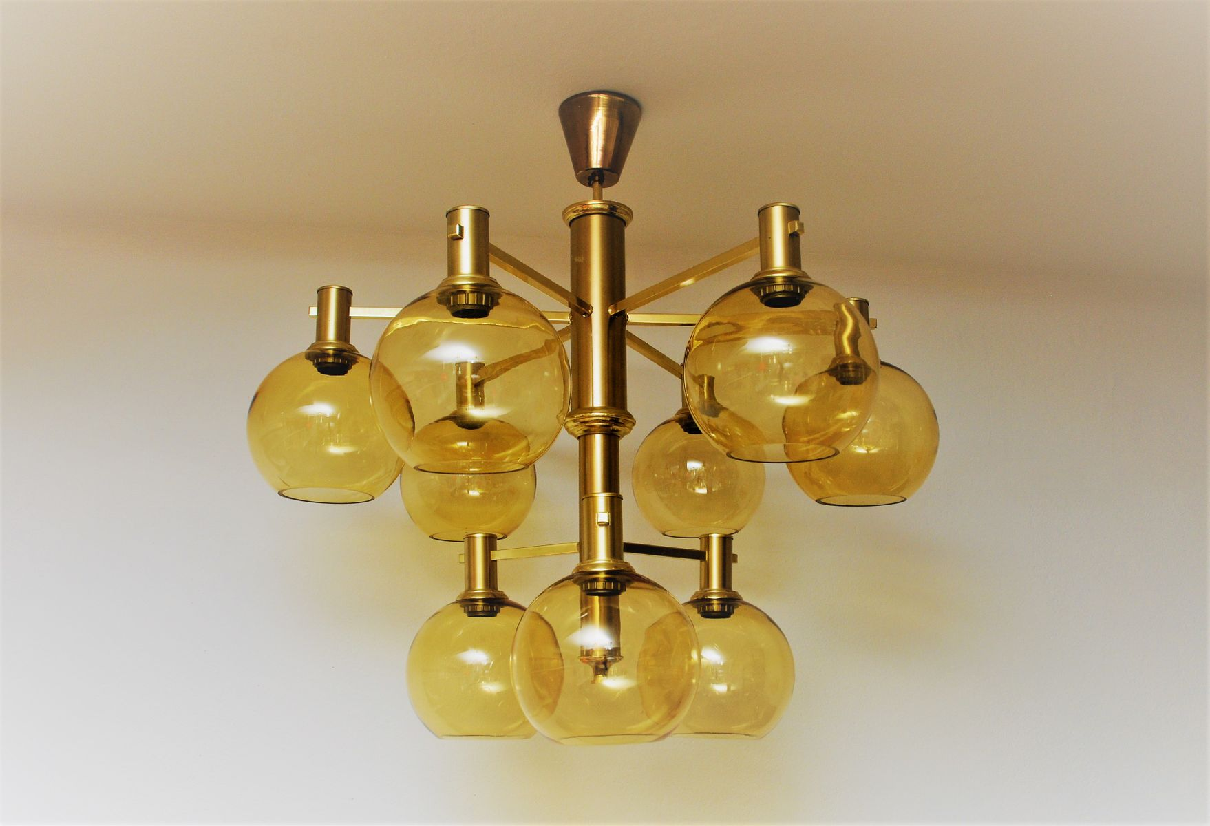 Large Vintage Ceiling Lights : Large vintage brass and glass ceiling lamp for sale at pamono