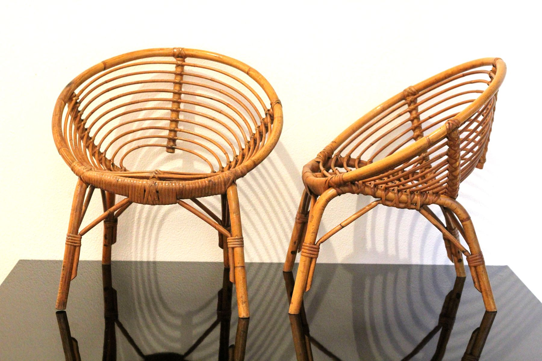 Vintage kinderstuhl aus rattan 1960er bei pamono kaufen - Kinderstuhl vintage ...